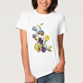 Art Nouveau Embroidered Pansies Shirt