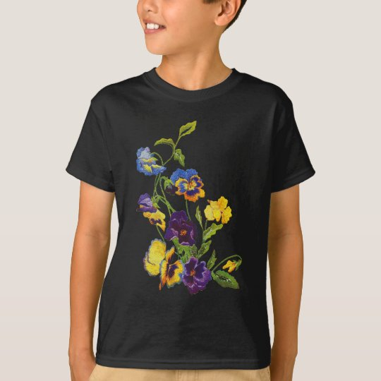 Art Nouveau Embroidered Pansies T-Shirt