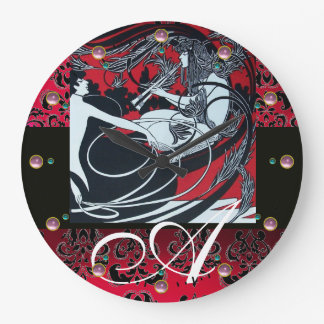 ART NOUVEAU FAUN Red Burgundy,Black Damask Large Clock