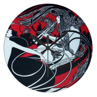 ART NOUVEAU FAUN  Red Burgundy,Black,white Large Clock