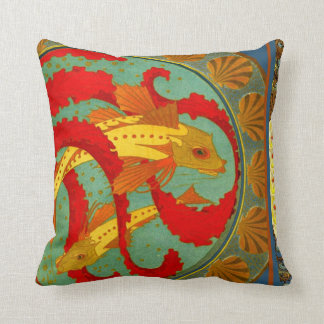 Art Nouveau Fish and Peacock Throw Pillow