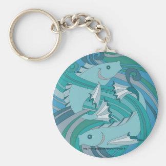 """Art Nouveau- Fishes-Keychain"" Keychain"