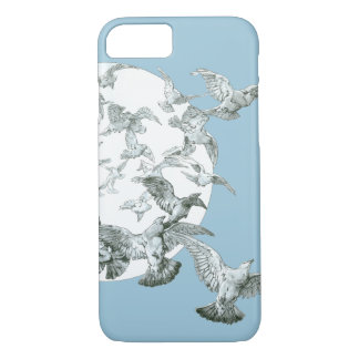 Art Nouveau Flock of Birds with Full Moon in Sky iPhone 7 Case