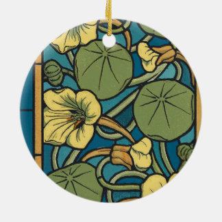 Art Nouveau Floral Blue Ceramic Ornament