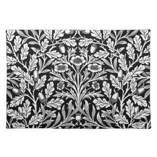 Art Nouveau Floral Damask, Black and White Cloth Placemat
