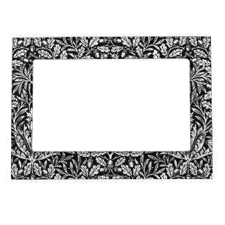 Art Nouveau Floral Damask, Black and White Magnetic Frame