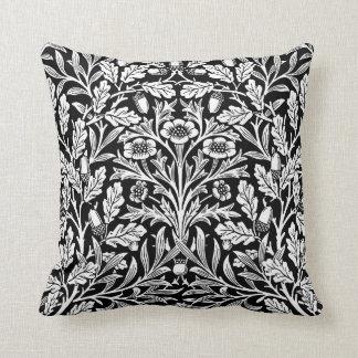Art Nouveau Floral Damask, Black and White Throw Pillow