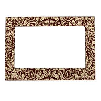 Art Nouveau Floral Damask, Chocolate Brown Magnetic Frame
