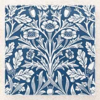Art Nouveau Floral Damask, Cobalt Blue and White Glass Coaster