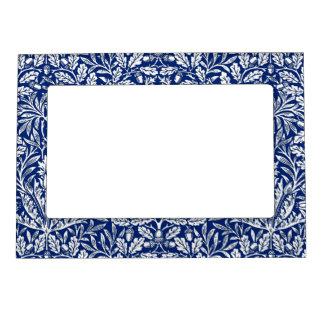 Art Nouveau Floral Damask, Cobalt Blue and White Magnetic Photo Frame