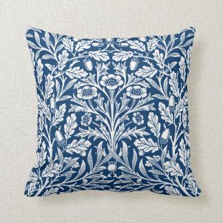 Art Nouveau Floral Damask, Cobalt Blue and White Throw Pillow