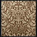 "Art Nouveau Floral Damask, Dark Brown and Beige Napkin<br><div class=""desc"">Art Nouveau damask pattern cloth napkin of flowers,  oak branches and leaves,  based on a vintage William Morris textile design,  digitally enhanced and colored in classic black and white</div>"