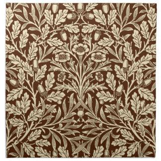 Art Nouveau Floral Damask, Dark Brown and Beige Napkin