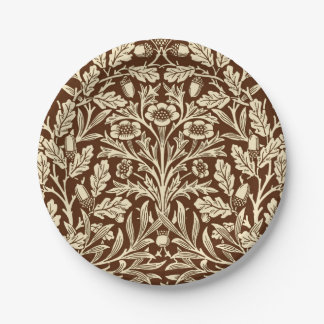 Art Nouveau Floral Damask, Dark Brown and Beige Paper Plate