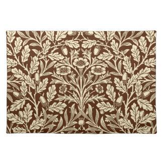 Art Nouveau Floral Damask, Dark Brown and Beige Placemat