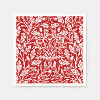 Art Nouveau Floral Damask, Dark Red and White Napkin