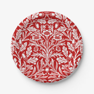 Art Nouveau Floral Damask, Dark Red and White Paper Plate