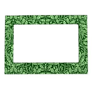 Art Nouveau Floral Damask, Emerald Green Magnetic Frame
