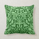 Art Nouveau Floral Damask, Emerald Green Pillow