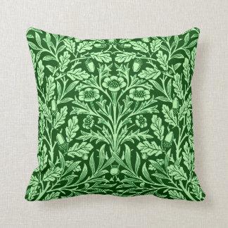 Art Nouveau Floral Damask, Emerald Green Throw Pillow