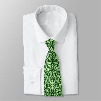 Art Nouveau Floral Damask, Emerald Green Tie