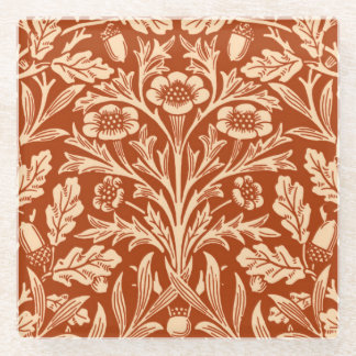 Art Nouveau Floral Damask, Mandarin Orange Glass Coaster