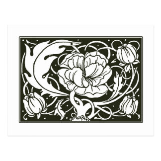 Art Nouveau Floral Illustration Postcard