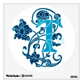 """Art nouveau floral initial """"T"""" Room Graphic"""