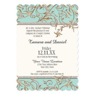 "Art Nouveau Floral Leaf Swirl Jewel w Gold Look 5"" X 7"" Invitation Card"