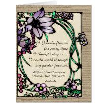 Art Nouveau - Floral Love Poems - Personalized Large Greeting Card