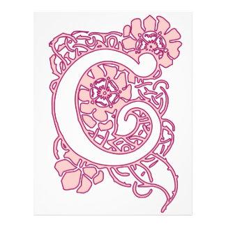 Art Nouveau Floral Monogram C Letterhead
