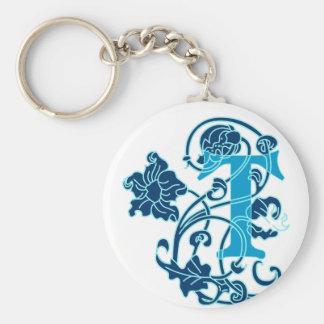 Art Nouveau Floral Monogram T Key Chains