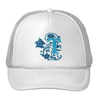 Art Nouveau Floral Monogram T Trucker Hat