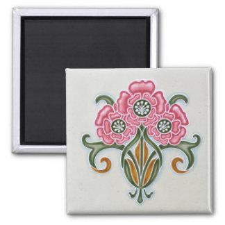 Art Nouveau Floral Tile 2 Inch Square Magnet