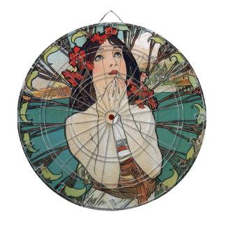 Art Nouveau Floral Woman Dart Board