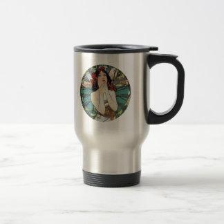 Art Nouveau Floral Woman Travel Mug