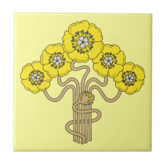 Art Nouveau flower drawing gold yellow Ceramic Tile