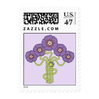 Art Nouveau flower drawing violet Postage Stamp