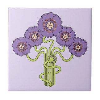 Art Nouveau flower drawing violet Tile