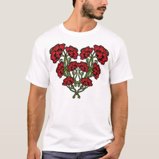 Art Nouveau Flower Heart Red T-Shirt