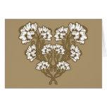 Art Nouveau Flower Heart Tan Greeting Card