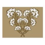 Art Nouveau Flower Heart Tan Post Card