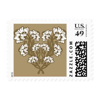 Art Nouveau Flower Heart Tan Postage