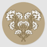 Art Nouveau Flower Heart Tan Stickers