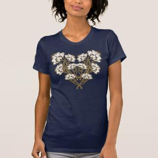 Art Nouveau Flower Heart Tan T-shirt