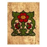 Art Nouveau Flower Motif Postcard