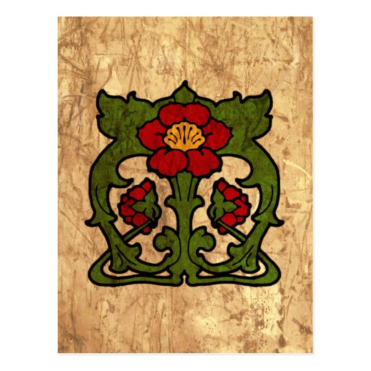 art nouveau flower motif postcard zazzle. Black Bedroom Furniture Sets. Home Design Ideas