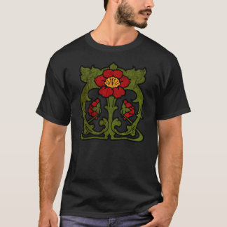 Art Nouveau Flower Motif T-Shirt