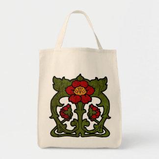 Art Nouveau Flower Motif Tote Bag