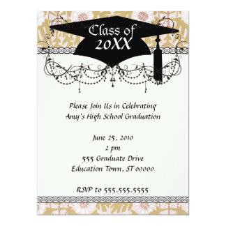art nouveau flower pattern graduation card